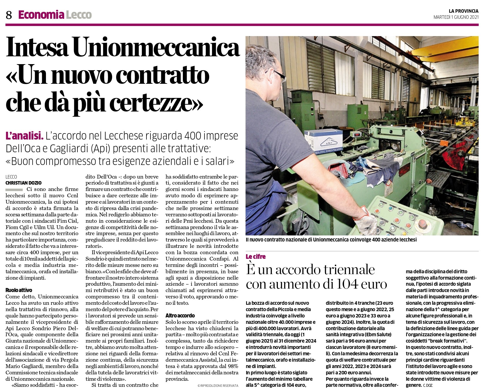 Intesa Unionmeccanica: Un nuovo contratto che dà più certezze
