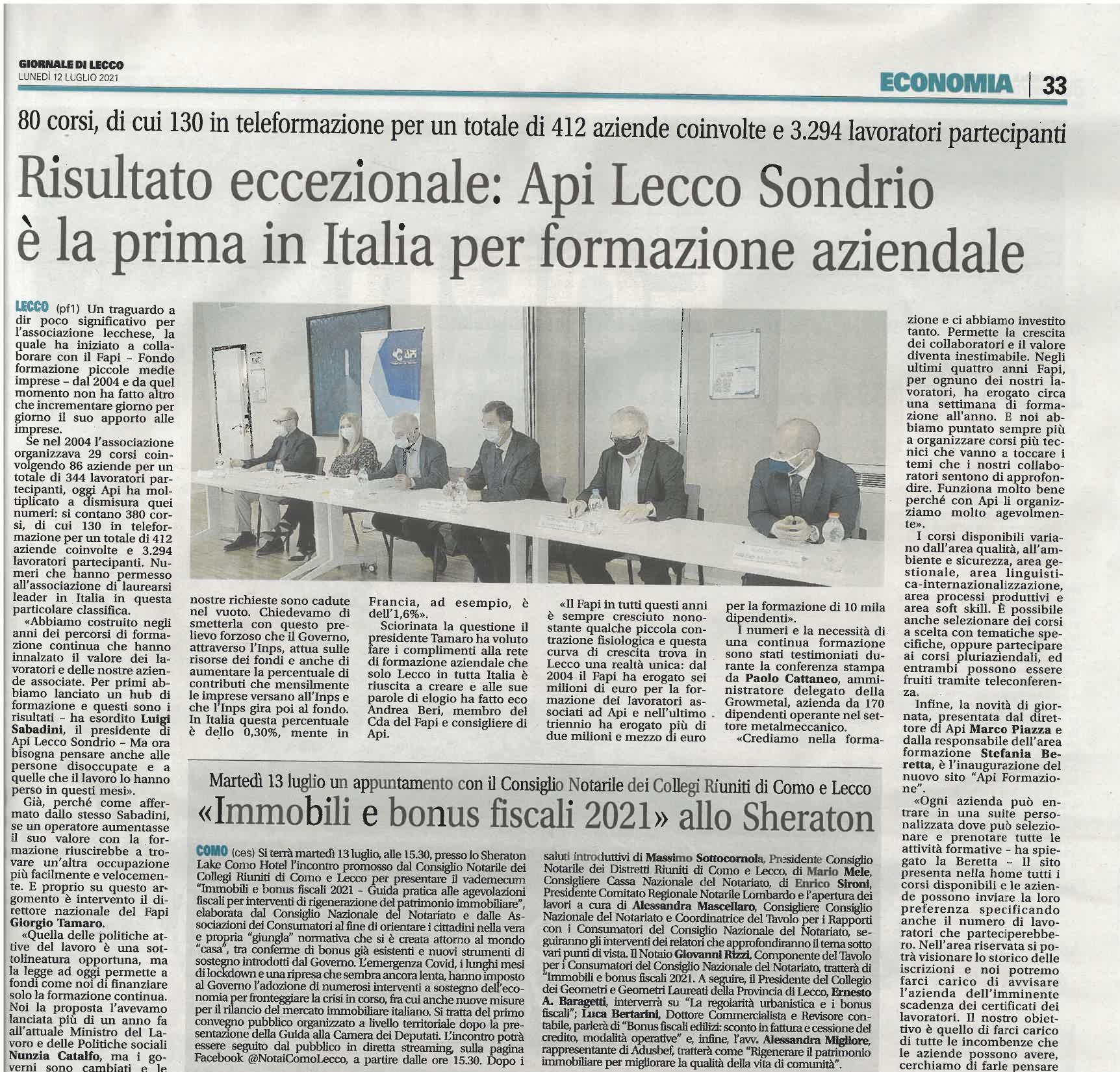 Risultato eccezionale: Api Lecco Sondrio è la prima in Italia per formazione aziendale