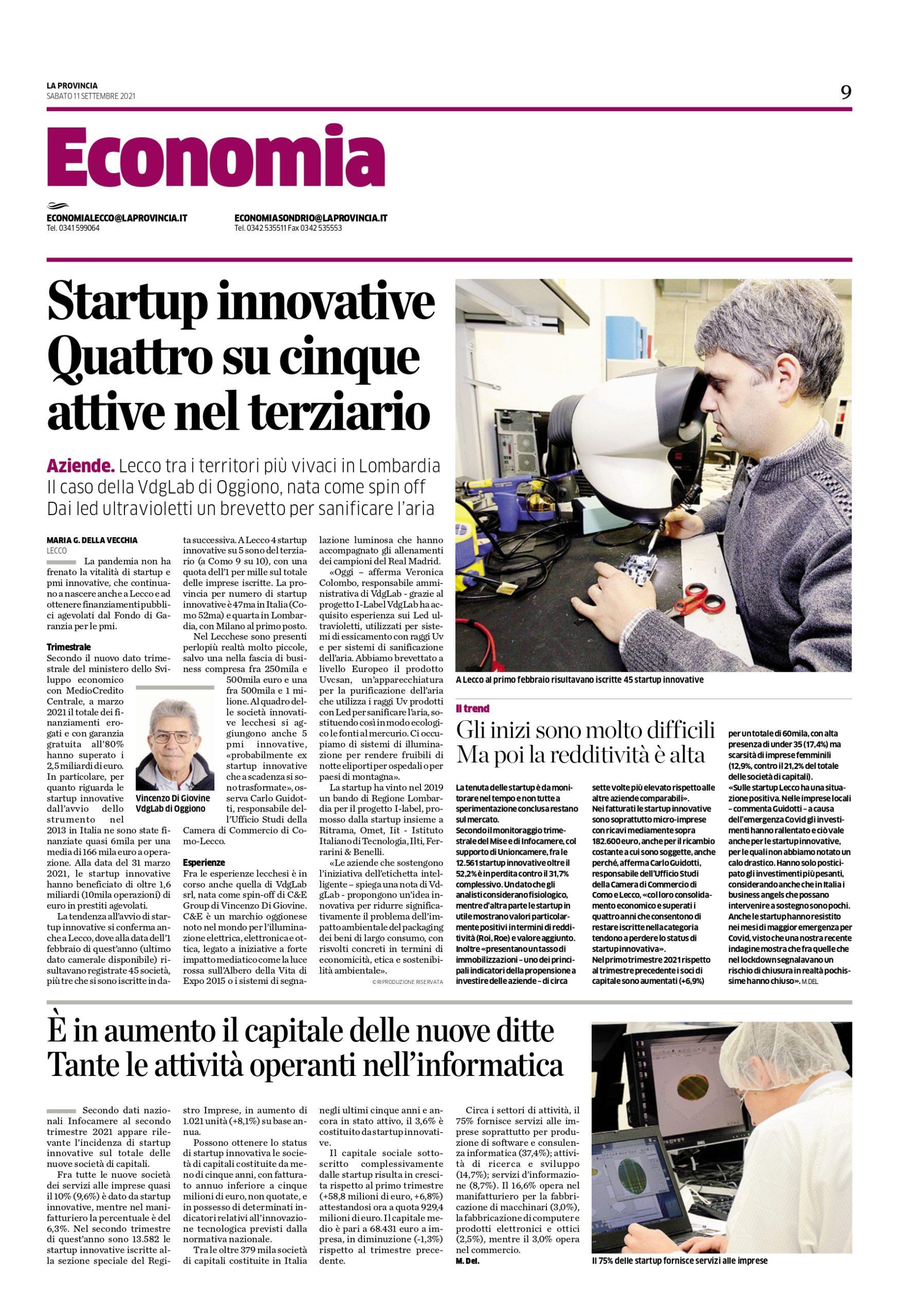 Startup innovative: quattro su cinque attive nel terziario