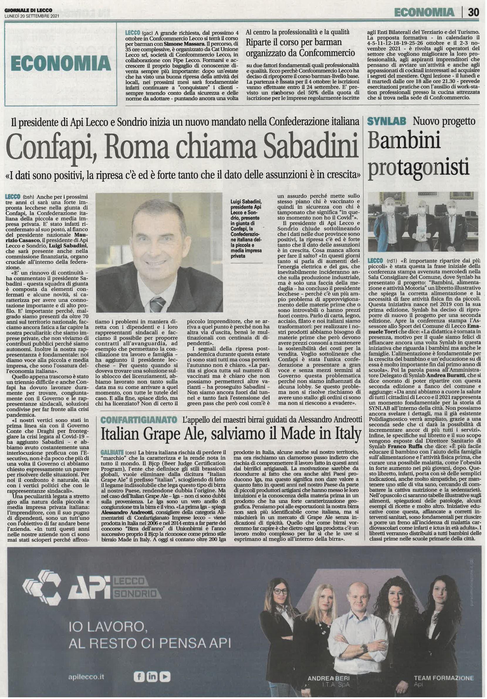 Confapi, Roma chiama Sabadini