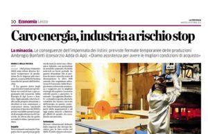 Caro energia, industria a rischio stop 1